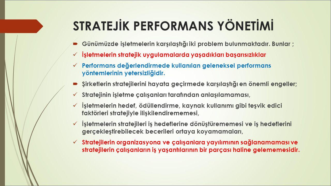 STRATEJİK PERFORMANS YÖNETİMİ  Performans Yönetimi; her kurumun kendisine özgü belirlediği performans kriterlerine göre bir geliştirme ve iyileştirme sürecidir.