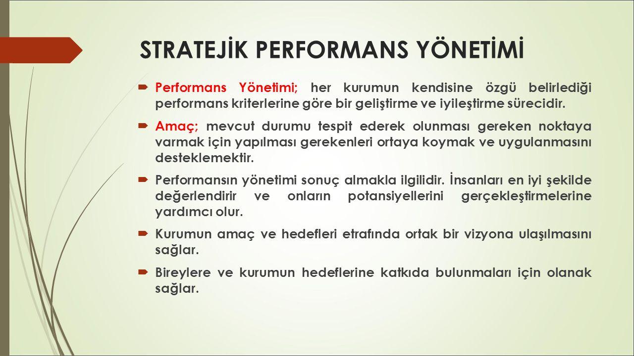 STRATEJİK PERFORMANS YÖNETİMİ  Performans Yönetimi; her kurumun kendisine özgü belirlediği performans kriterlerine göre bir geliştirme ve iyileştirme