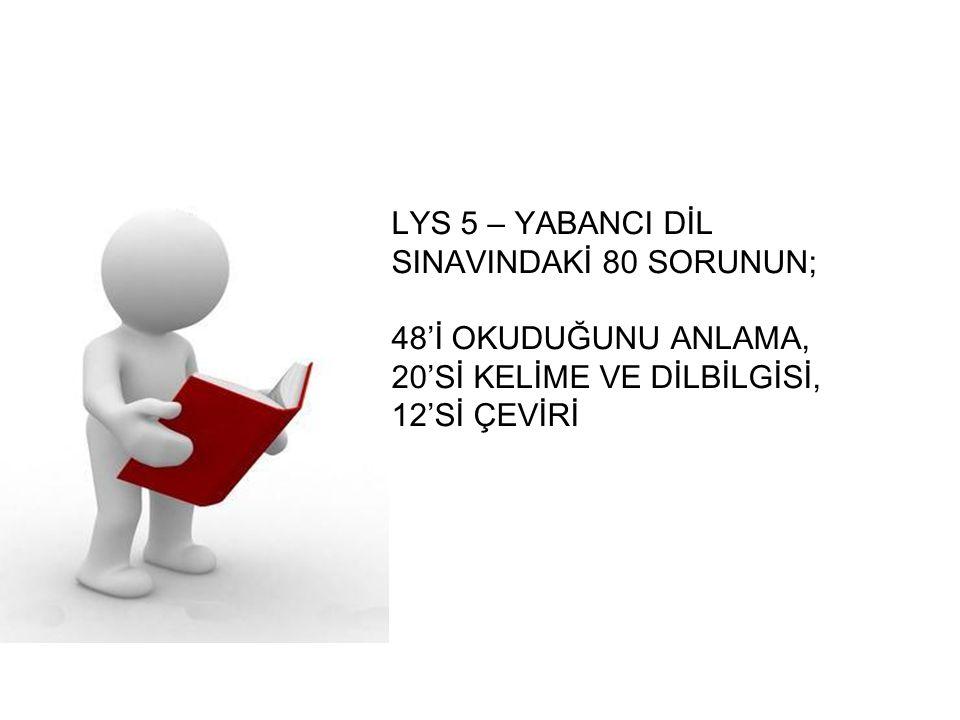 LYS 5 – YABANCI DİL SINAVINDAKİ 80 SORUNUN; 48'İ OKUDUĞUNU ANLAMA, 20'Sİ KELİME VE DİLBİLGİSİ, 12'Sİ ÇEVİRİ