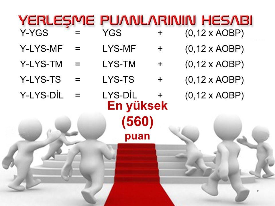Y-YGS =YGS + (0,12 x AOBP) Y-LYS-MF =LYS-MF + (0,12 x AOBP) Y-LYS-TM =LYS-TM + (0,12 x AOBP) Y-LYS-TS =LYS-TS + (0,12 x AOBP) Y-LYS-DİL =LYS-DİL + (0,12 x AOBP) En yüksek (560) puan *