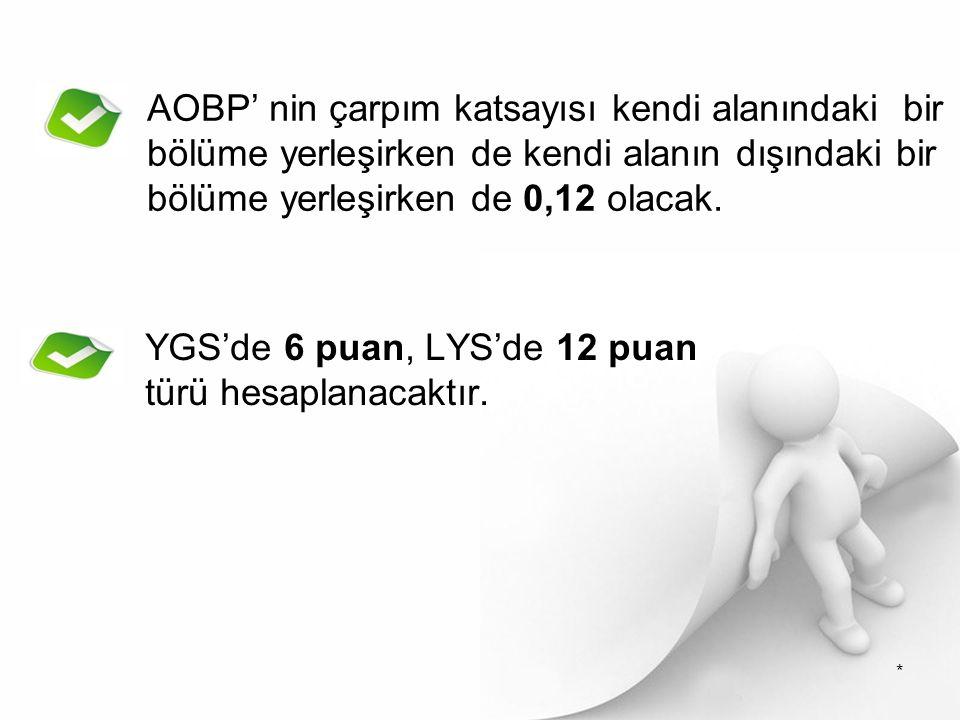 AOBP' nin çarpım katsayısı kendi alanındaki bir bölüme yerleşirken de kendi alanın dışındaki bir bölüme yerleşirken de 0,12 olacak.