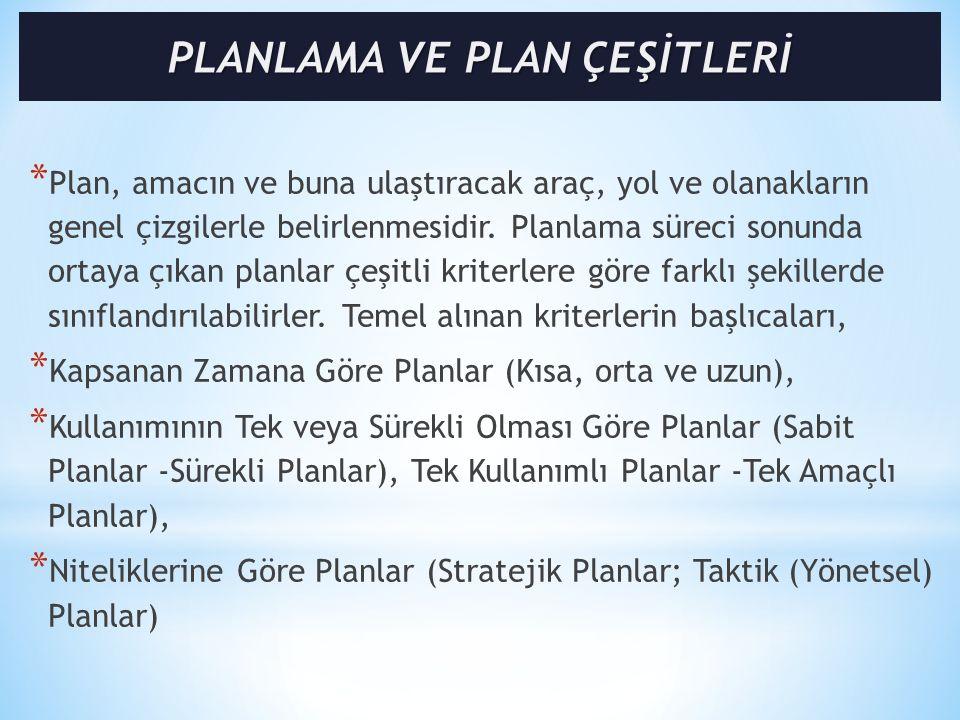 * Plan, amacın ve buna ulaştıracak araç, yol ve olanakların genel çizgilerle belirlenmesidir.
