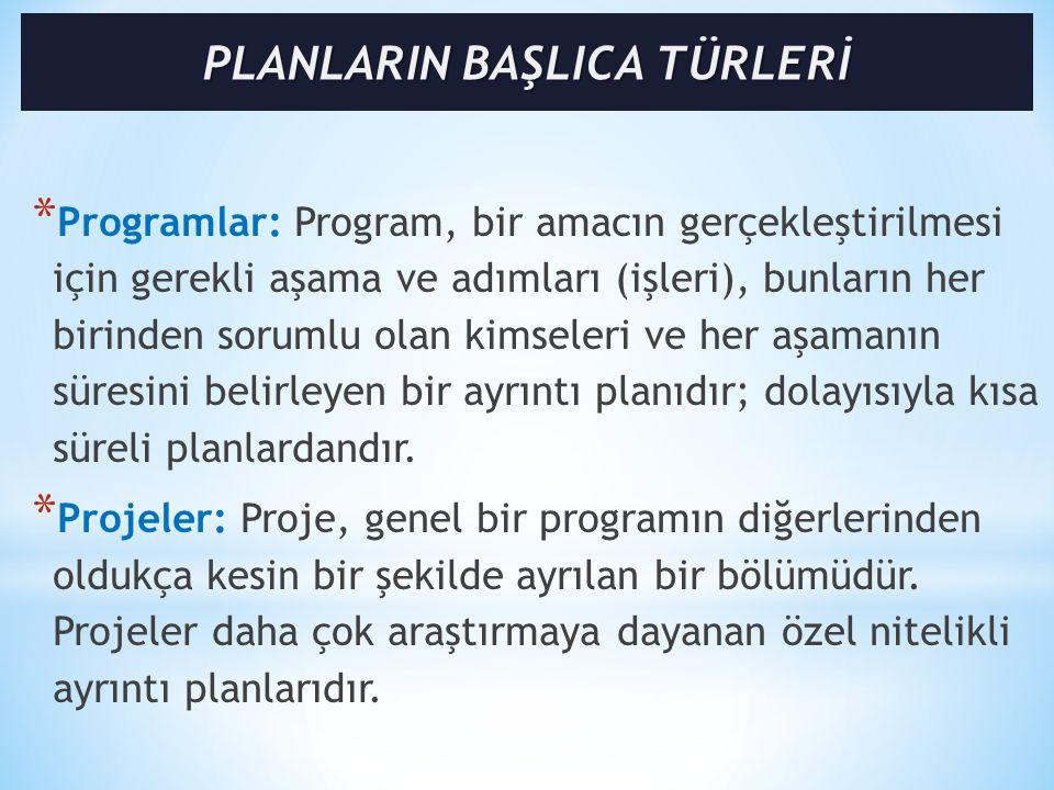 * Programlar: Program, bir amacın gerçekleştirilmesi için gerekli aşama ve adımları (işleri), bunların her birinden sorumlu olan kimseleri ve her aşamanın süresini belirleyen bir ayrıntı planıdır; dolayısıyla kısa süreli planlardandır.