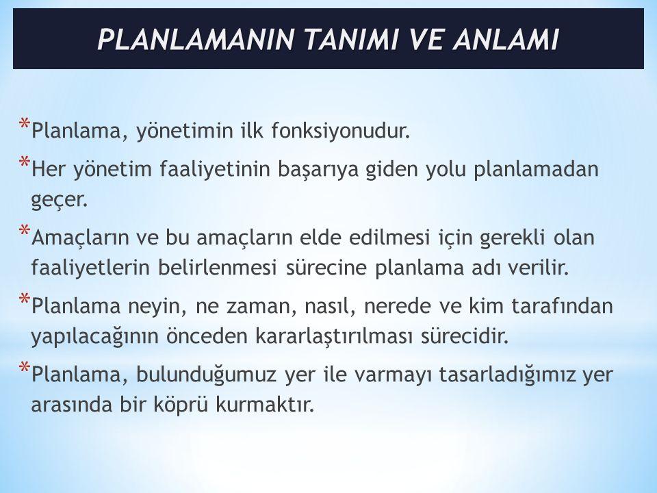 * Planlama, yönetimin ilk fonksiyonudur.