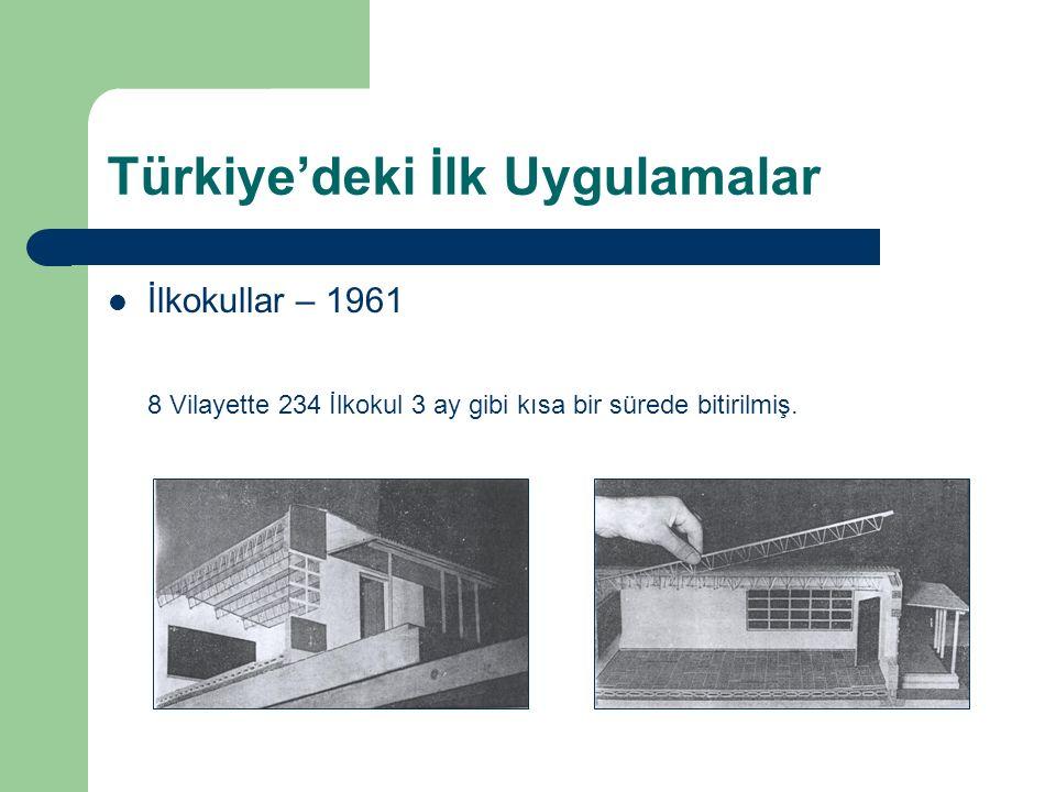 Türkiye'deki İlk Uygulamalar İlkokullar – 1961 8 Vilayette 234 İlkokul 3 ay gibi kısa bir sürede bitirilmiş.