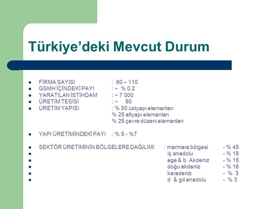 Türkiye'deki Mevcut Durum FİRMA SAYISI: 80 – 110 FİRMA SAYISI: 80 – 110 GSMH İÇİNDEKİ PAYI: ~ % 0.2 GSMH İÇİNDEKİ PAYI: ~ % 0.2 YARATILAN İSTİHDAM: ~