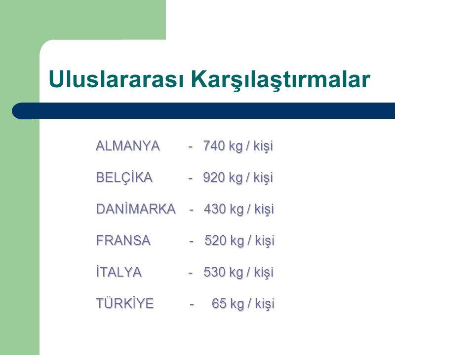 Uluslararası Karşılaştırmalar ALMANYA - 740 kg / kişi BELÇİKA - 920 kg / kişi DANİMARKA - 430 kg / kişi FRANSA - 520 kg / kişi İTALYA - 530 kg / kişi