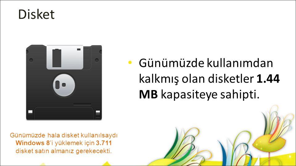 Disket Günümüzde kullanımdan kalkmış olan disketler 1.44 MB kapasiteye sahipti. Günümüzde hala disket kullanılsaydı Windows 8'i yüklemek için 3.711 di