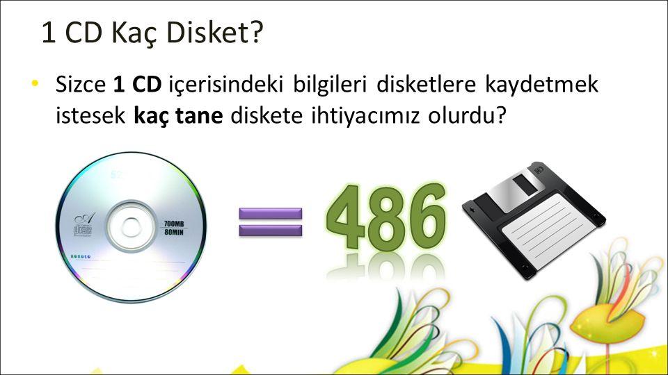 1 CD Kaç Disket? Sizce 1 CD içerisindeki bilgileri disketlere kaydetmek istesek kaç tane diskete ihtiyacımız olurdu?