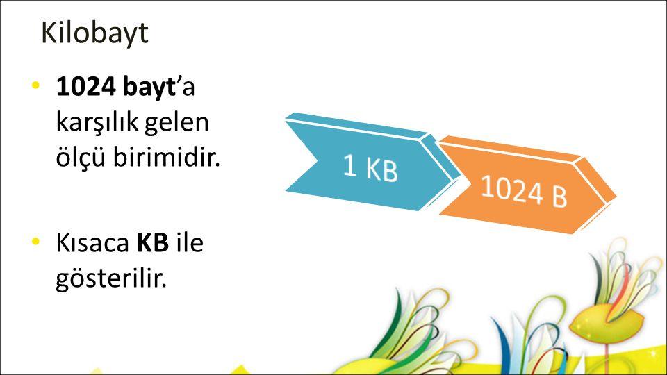 Kilobayt 1024 bayt'a karşılık gelen ölçü birimidir. Kısaca KB ile gösterilir.