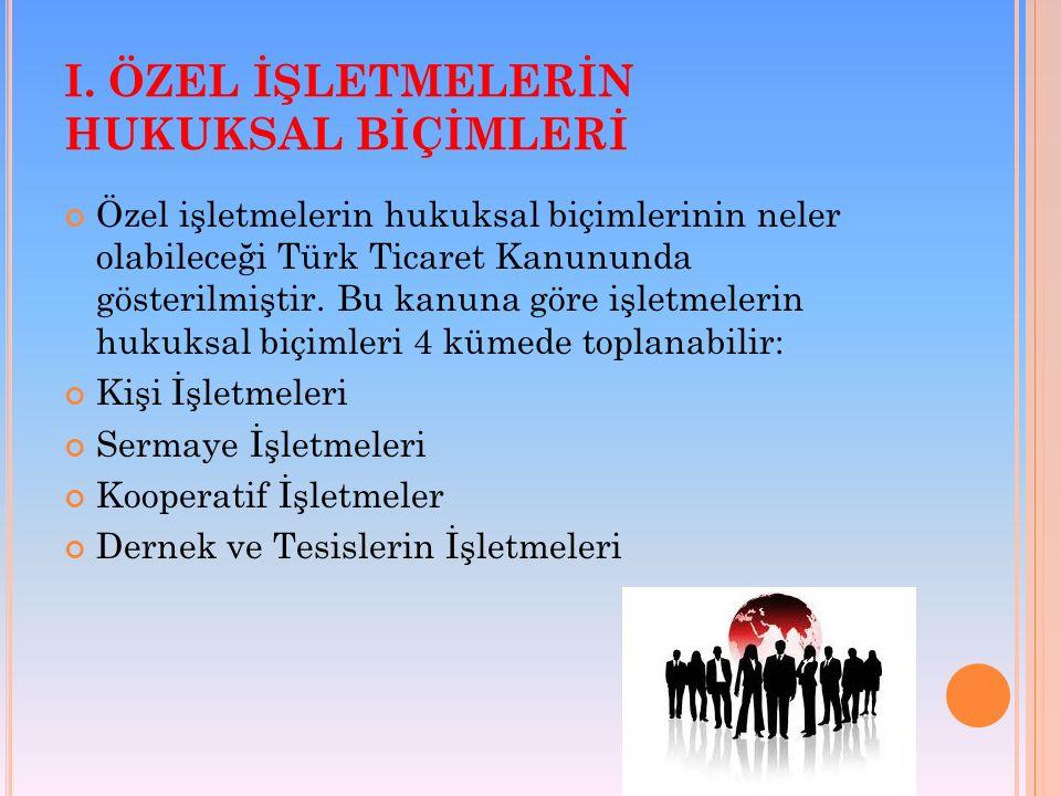 I. ÖZEL İŞLETMELERİN HUKUKSAL BİÇİMLERİ Özel işletmelerin hukuksal biçimlerinin neler olabileceği Türk Ticaret Kanununda gösterilmiştir. Bu kanuna gör