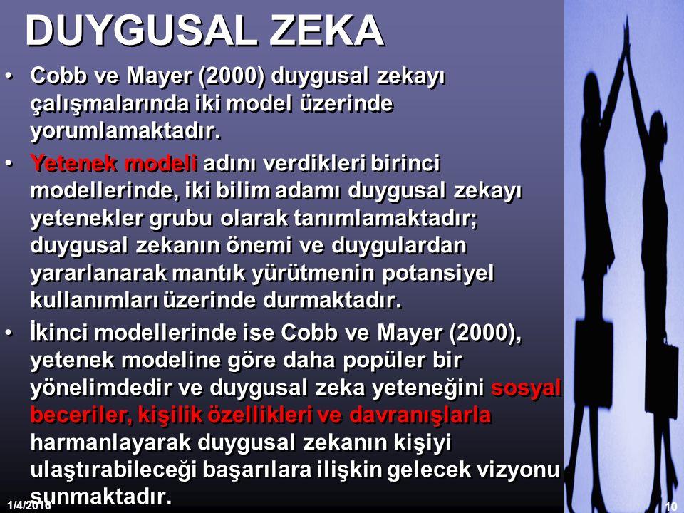 DUYGUSAL ZEKA Cobb ve Mayer (2000) duygusal zekayı çalışmalarında iki model üzerinde yorumlamaktadır. Yetenek modeli adını verdikleri birinci modeller