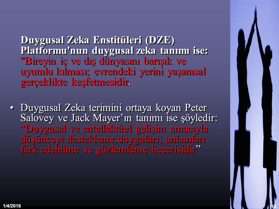 1/4/2016 13 Duygusal Zeka Enstitüleri (DZE) Platformu'nun duygusal zeka tanımı ise: