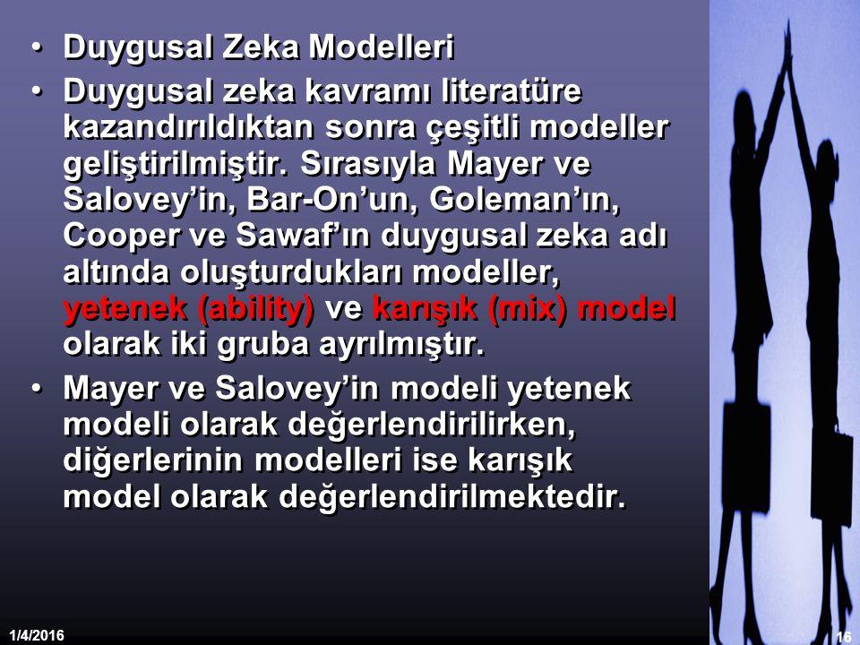 1/4/2016 16 Duygusal Zeka Modelleri Duygusal zeka kavramı literatüre kazandırıldıktan sonra çeşitli modeller geliştirilmiştir. Sırasıyla Mayer ve Salo