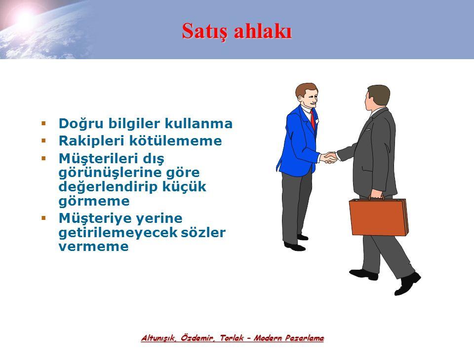 Altunışık, Özdemir, Torlak – Modern Pazarlama Satış Elemanlarının Yasal ve Sosyal Sorumlulukları  Müşterilere Karşı Sorumluluklar  Yönetime Karşı So