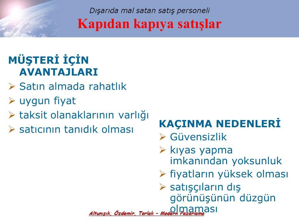 Altunışık, Özdemir, Torlak – Modern Pazarlama Temsil görevlerine göre satış elemanları  Üretici temsilcileri  Toptancıların temsilcileri  Sipariş s