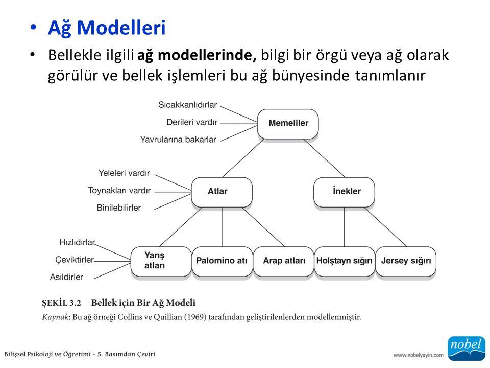 Ağ Modelleri Bellekle ilgili ağ modellerinde, bilgi bir örgü veya ağ olarak görülür ve bellek işlemleri bu ağ bünyesinde tanımlanır