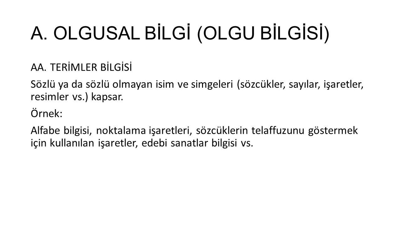 A.OLGUSAL BİLGİ (OLGU BİLGİSİ) AB.