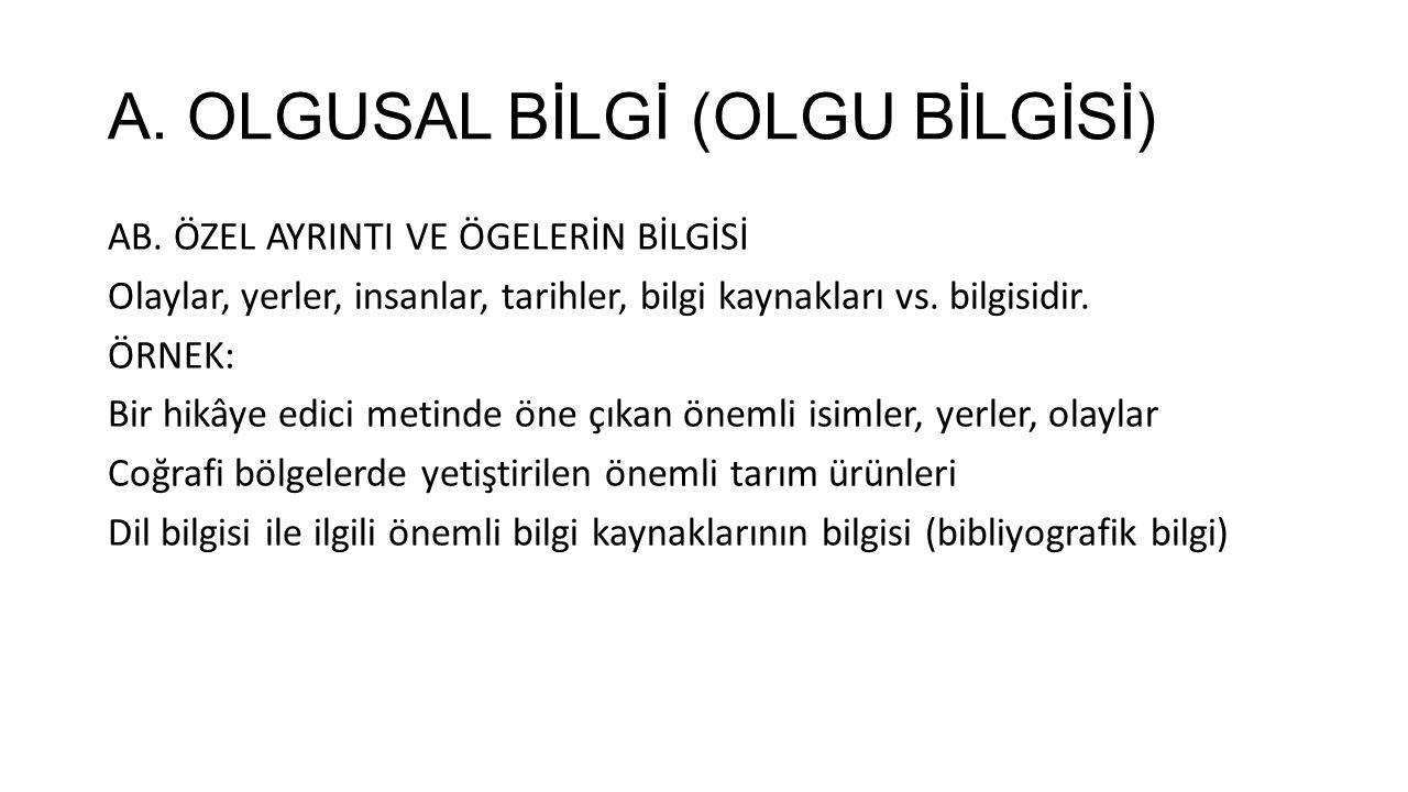 D.ÜSTBİLİŞSEL BİLGİ (ÜSTBİLİŞ BİLGİSİ) DB.
