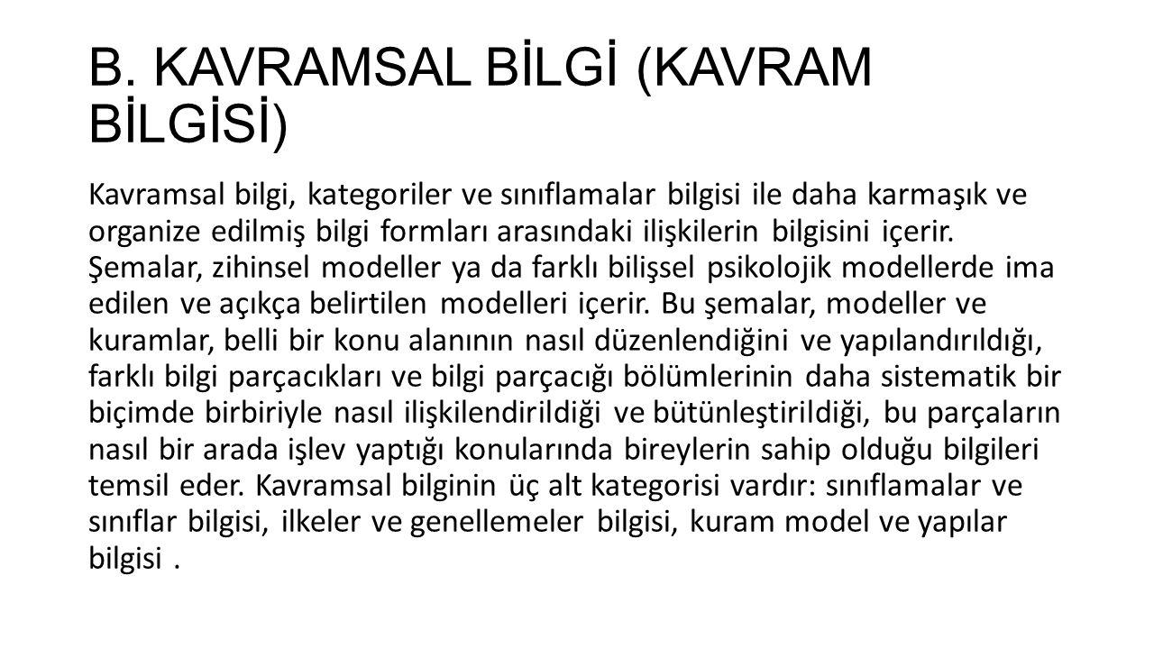 B.KAVRAMSAL BİLGİ (KAVRAM BİLGİSİ) BA.