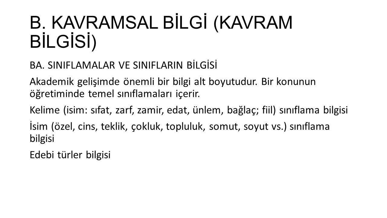 B.KAVRAMSAL BİLGİ (KAVRAM BİLGİSİ) BB.