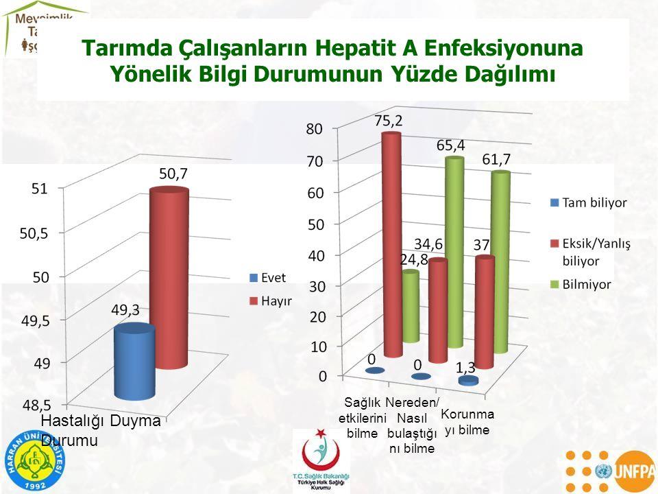 Tarımda Çalışanların Hepatit A Enfeksiyonuna Yönelik Bilgi Durumunun Yüzde Dağılımı Hastalığı Duyma Durumu Sağlık etkilerini bilme Nereden/ Nasıl bula