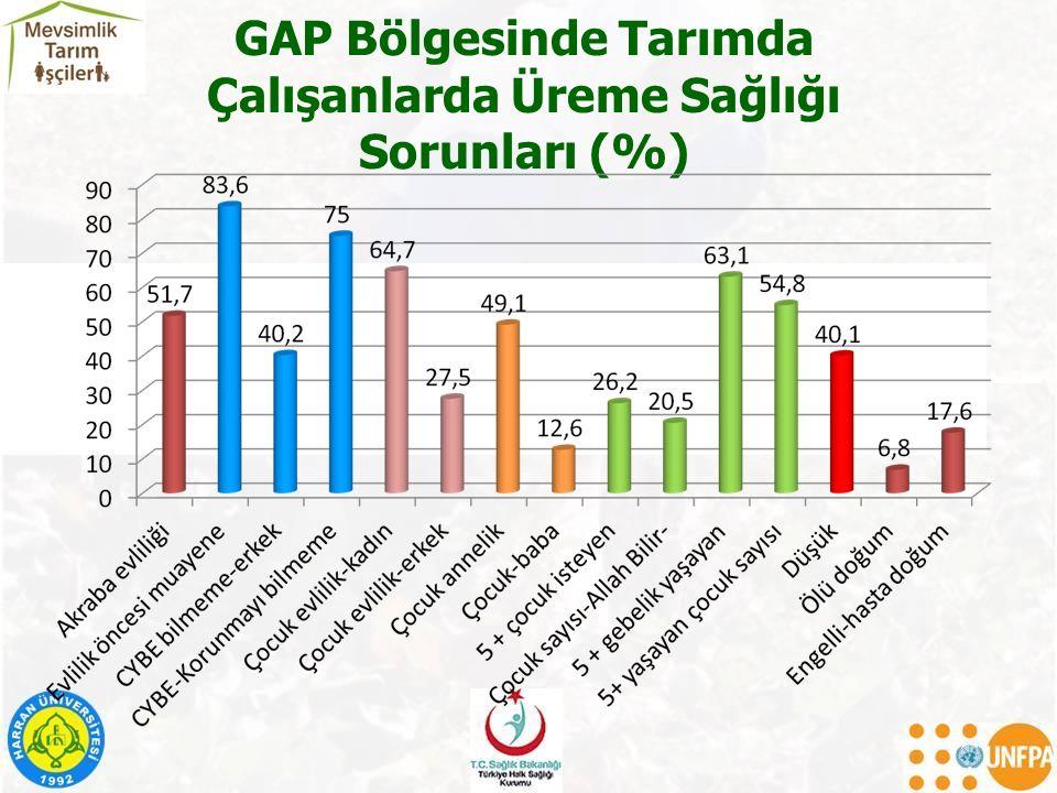 GAP Bölgesinde Tarımda Çalışanlarda Üreme Sağlığı Sorunları (%)