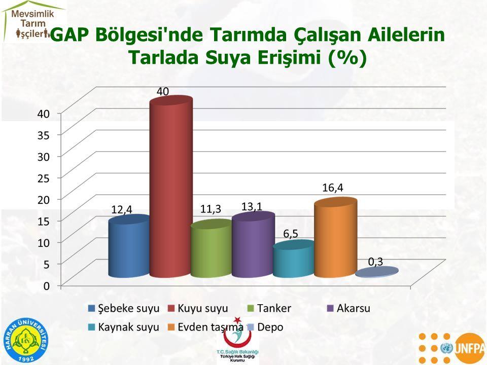 GAP Bölgesi'nde Tarımda Çalışan Ailelerin Tarlada Suya Erişimi (%)