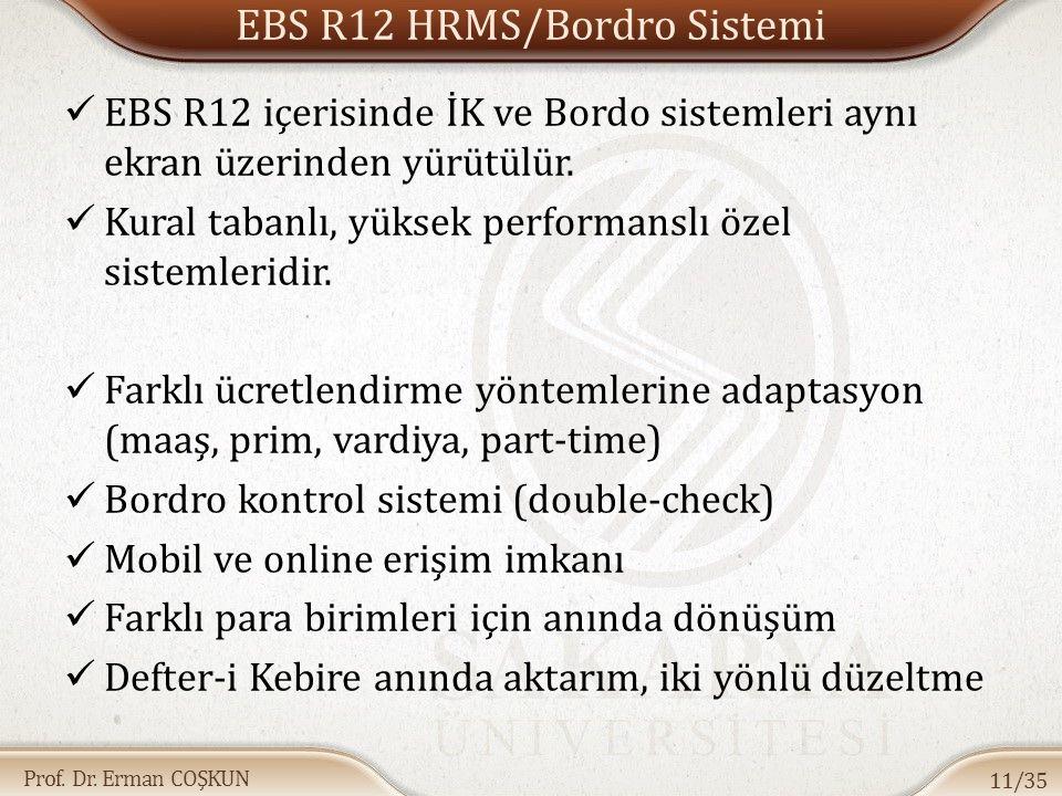 Prof. Dr. Erman COŞKUN EBS R12 HRMS/Bordro Sistemi EBS R12 içerisinde İK ve Bordo sistemleri aynı ekran üzerinden yürütülür. Kural tabanlı, yüksek per