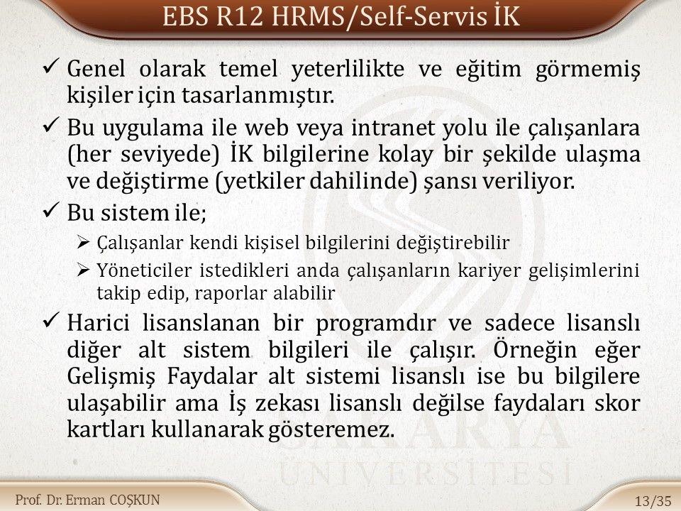 Prof. Dr. Erman COŞKUN EBS R12 HRMS/Self-Servis İK Genel olarak temel yeterlilikte ve eğitim görmemiş kişiler için tasarlanmıştır. Bu uygulama ile web