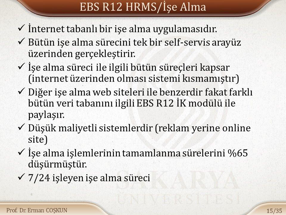 Prof. Dr. Erman COŞKUN EBS R12 HRMS/İşe Alma İnternet tabanlı bir işe alma uygulamasıdır. Bütün işe alma sürecini tek bir self-servis arayüz üzerinden