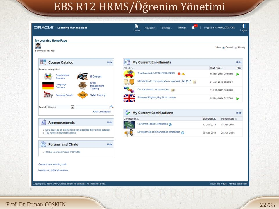 Prof. Dr. Erman COŞKUN EBS R12 HRMS/Öğrenim Yönetimi 22/35