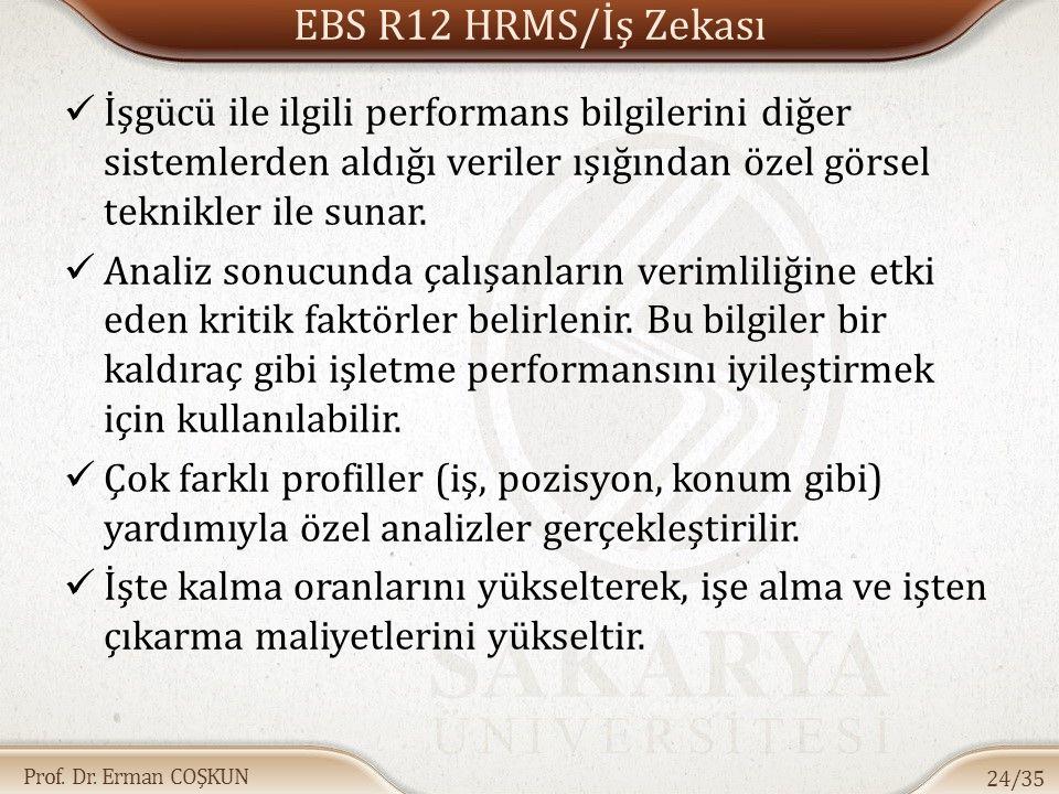 Prof. Dr. Erman COŞKUN EBS R12 HRMS/İş Zekası İşgücü ile ilgili performans bilgilerini diğer sistemlerden aldığı veriler ışığından özel görsel teknikl