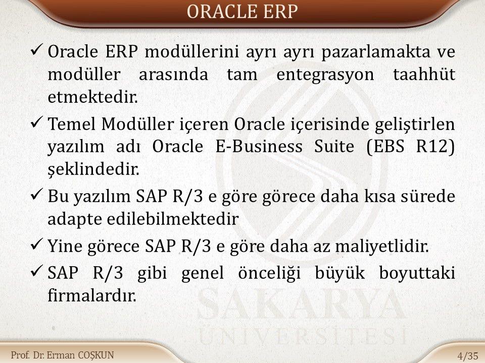 Prof. Dr. Erman COŞKUN ORACLE ERP Oracle ERP modüllerini ayrı ayrı pazarlamakta ve modüller arasında tam entegrasyon taahhüt etmektedir. Temel Modülle