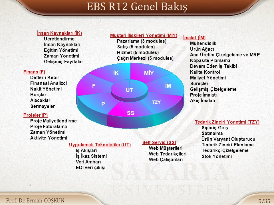 Prof. Dr. Erman COŞKUN EBS R12 Genel Bakış 5/35 İK F P SS TZY İM MİY UT Finans (F) Defter-i Kebir Finansal Analizci Nakit Yönetimi Borçlar Alacaklar S