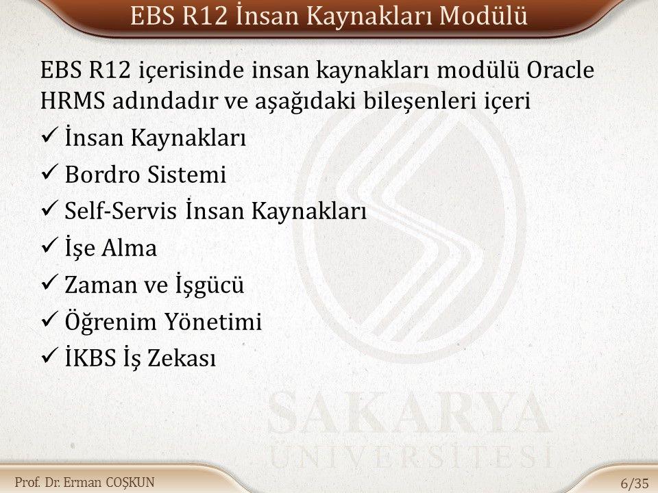 Prof. Dr. Erman COŞKUN EBS R12 İnsan Kaynakları Modülü EBS R12 içerisinde insan kaynakları modülü Oracle HRMS adındadır ve aşağıdaki bileşenleri içeri