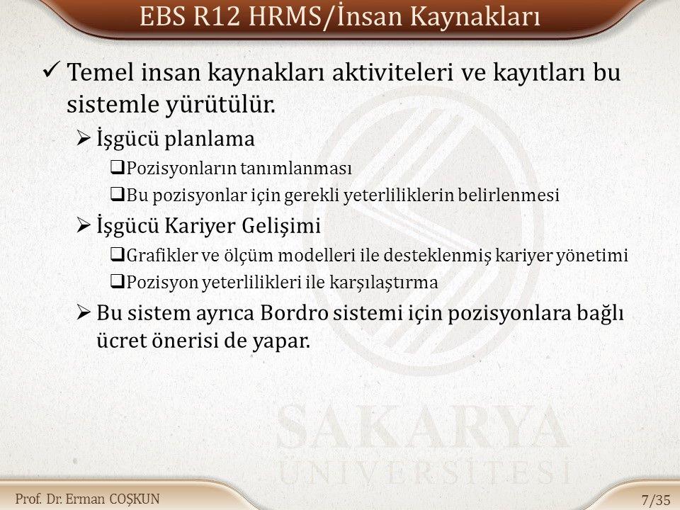 Prof. Dr. Erman COŞKUN EBS R12 HRMS/İnsan Kaynakları Temel insan kaynakları aktiviteleri ve kayıtları bu sistemle yürütülür.  İşgücü planlama  Pozis