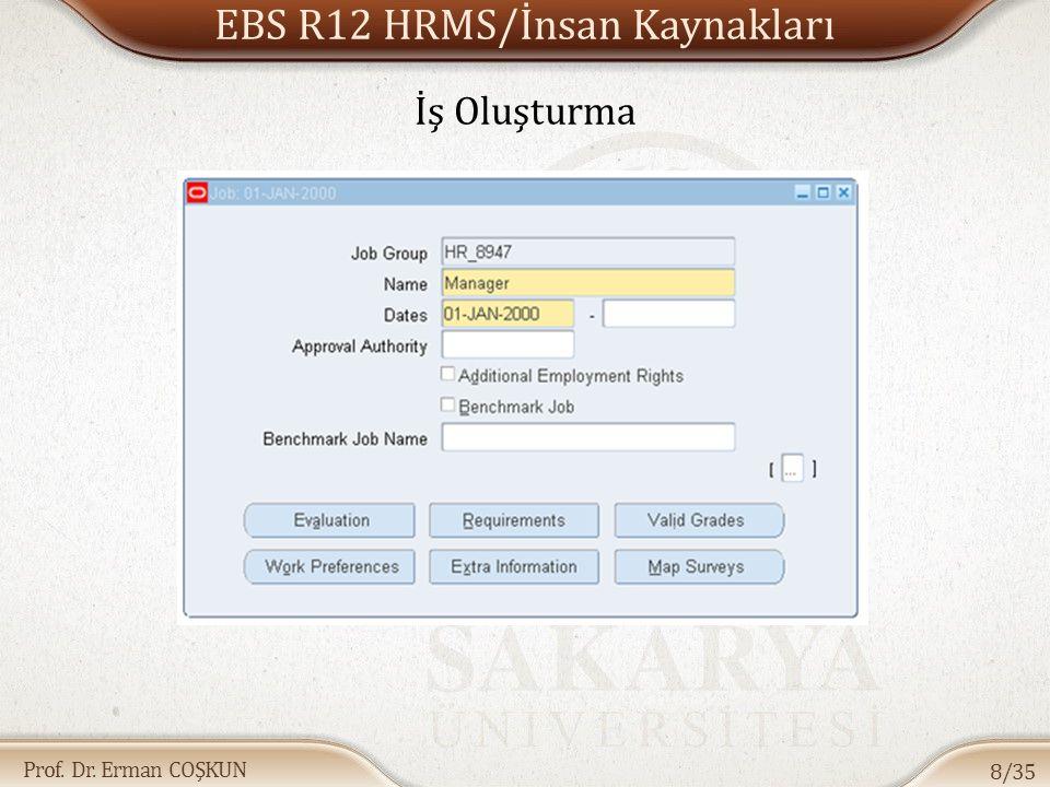Prof. Dr. Erman COŞKUN EBS R12 HRMS/İnsan Kaynakları 8/35 İş Oluşturma