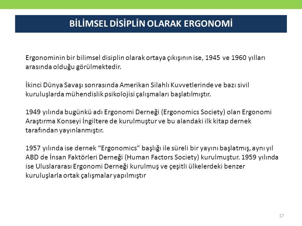 Ergonominin bir bilimsel disiplin olarak ortaya çıkışının ise, 1945 ve 1960 yılları arasında olduğu görülmektedir. İkinci Dünya Savaşı sonrasında Amer