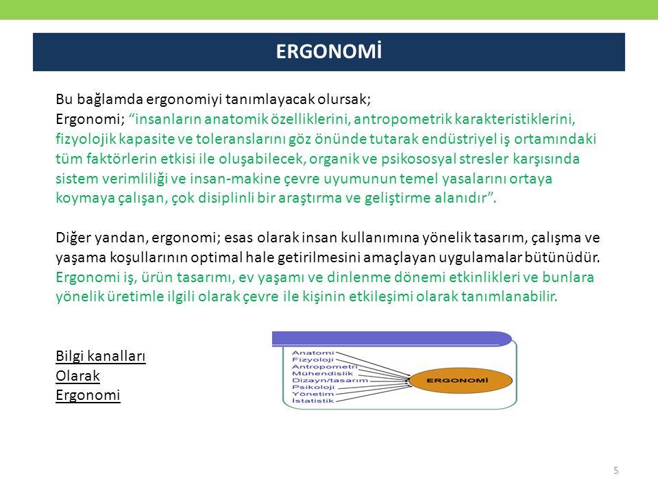 """Bu bağlamda ergonomiyi tanımlayacak olursak; Ergonomi; """"insanların anatomik özelliklerini, antropometrik karakteristiklerini, fizyolojik kapasite ve t"""