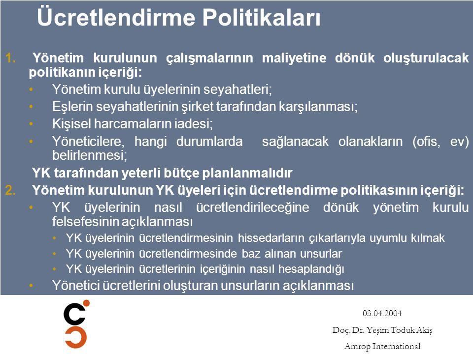 03.04.2004 Doç.Dr. Yeşim Toduk Akiş Amrop International Ücretlendirme Politikaları 1.