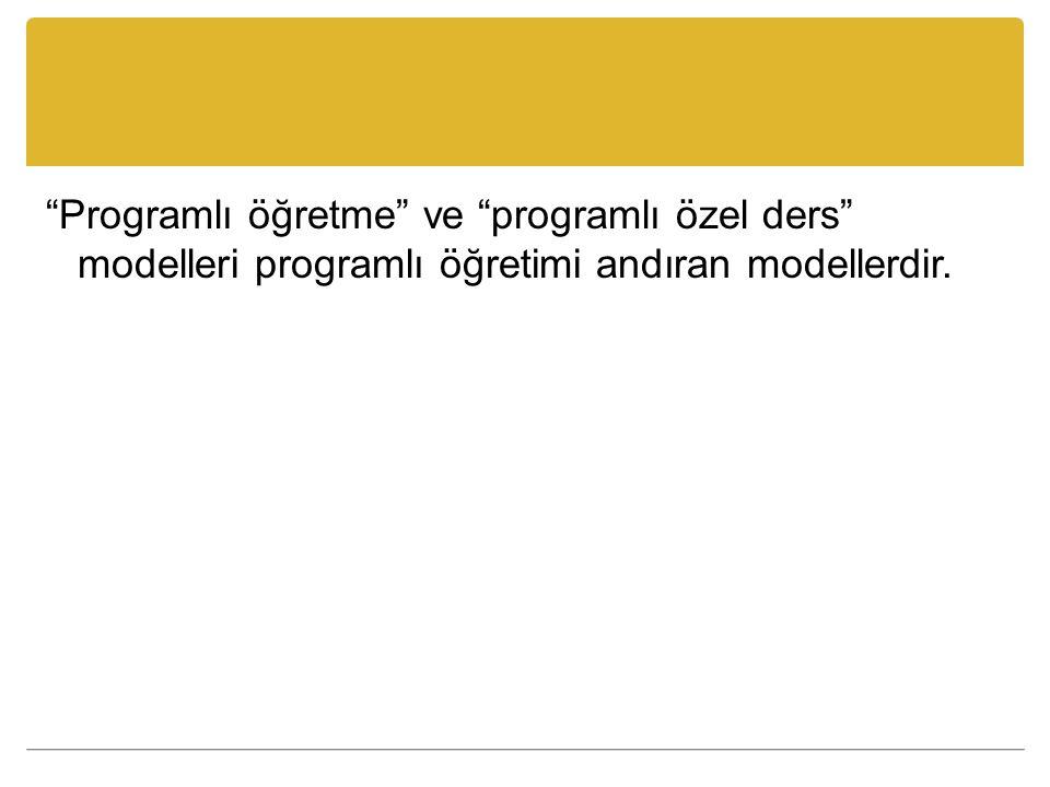Programlı öğretme ve programlı özel ders modelleri programlı öğretimi andıran modellerdir.