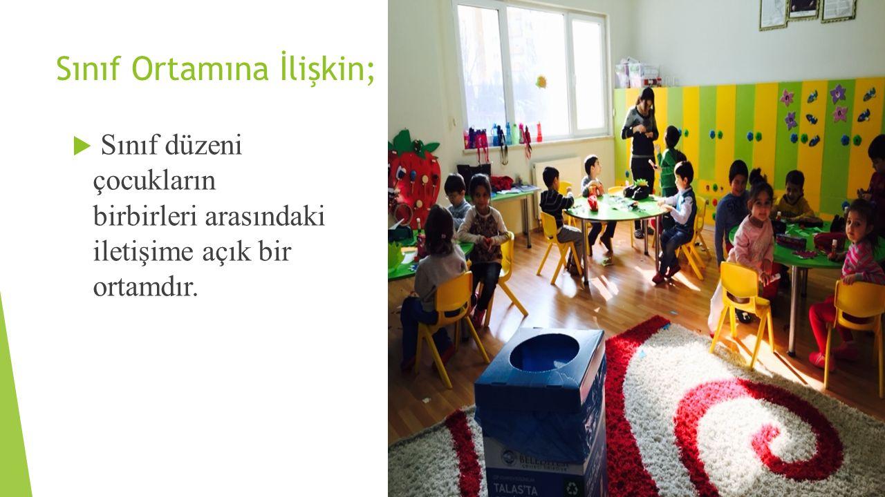 Sınıf Ortamına İlişkin;  Sınıf düzeni çocukların birbirleri arasındaki iletişime açık bir ortamdır.