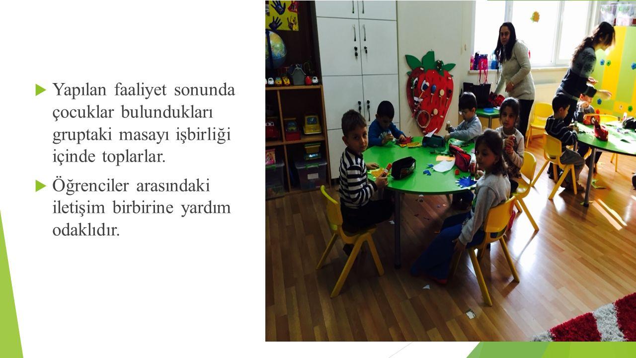  Yapılan faaliyet sonunda çocuklar bulundukları gruptaki masayı işbirliği içinde toplarlar.