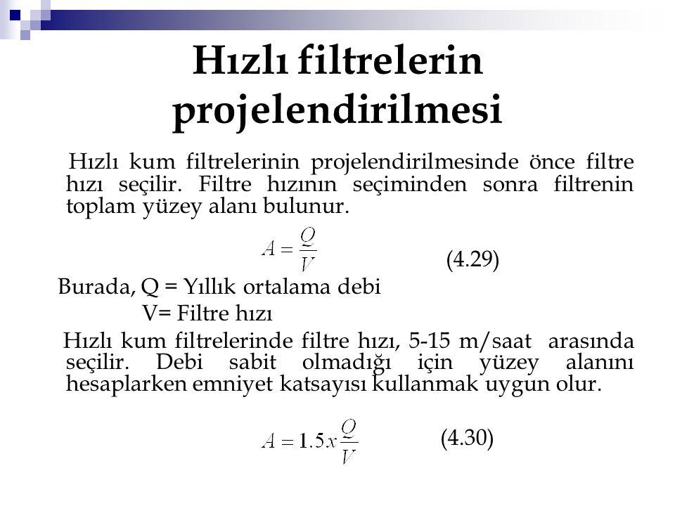Hızlı filtrelerin projelendirilmesi Hızlı kum filtrelerinin projelendirilmesinde önce filtre hızı seçilir. Filtre hızının seçiminden sonra filtrenin t