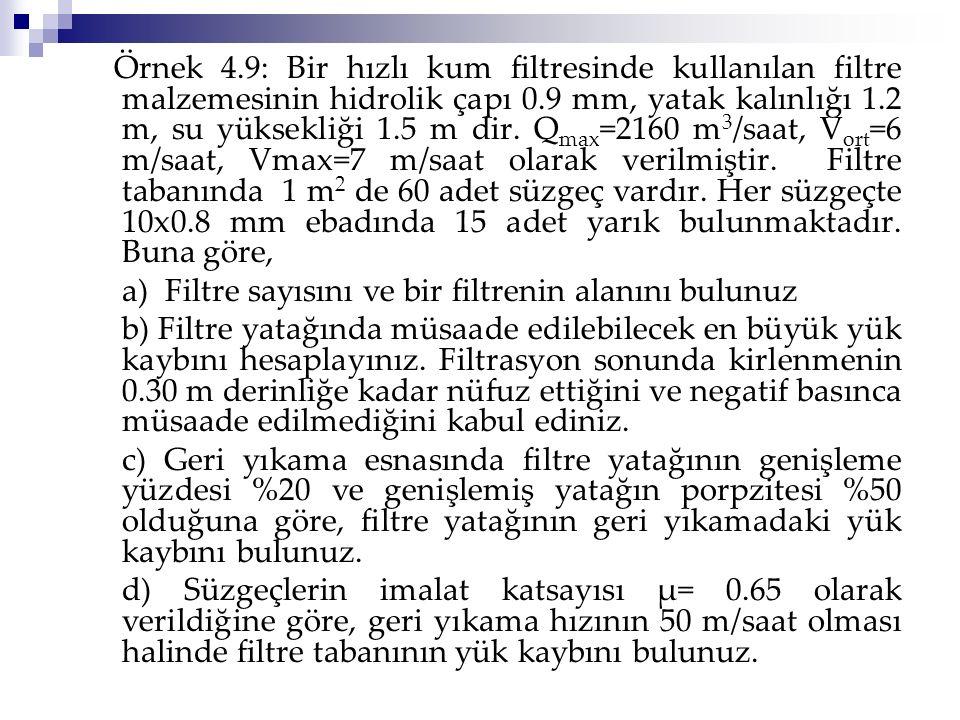 Örnek 4.9: Bir hızlı kum filtresinde kullanılan filtre malzemesinin hidrolik çapı 0.9 mm, yatak kalınlığı 1.2 m, su yüksekliği 1.5 m dir. Q max =2160
