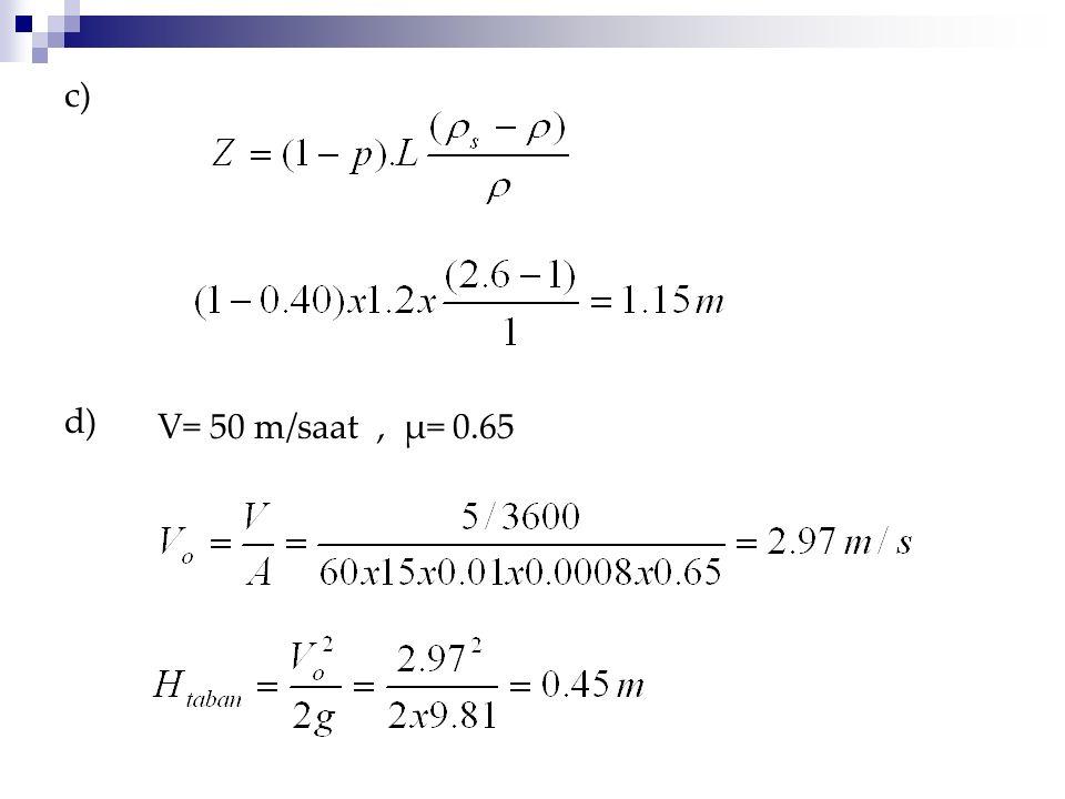 c) d) V= 50 m/saat, μ= 0.65
