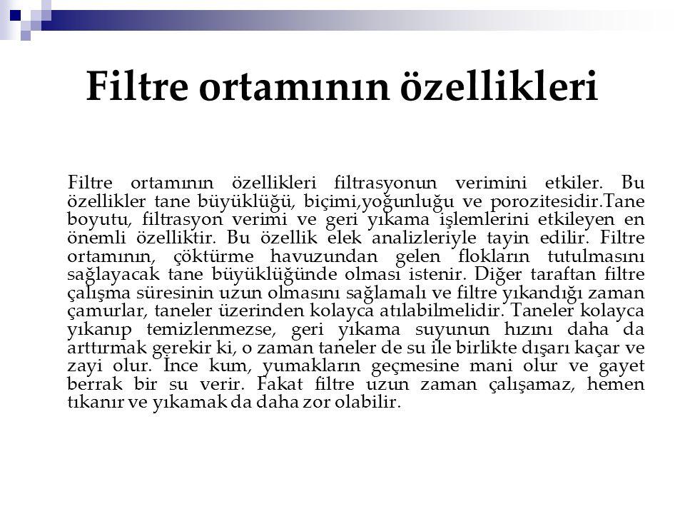 Filtre ortamının özellikleri Filtre ortamının özellikleri filtrasyonun verimini etkiler.