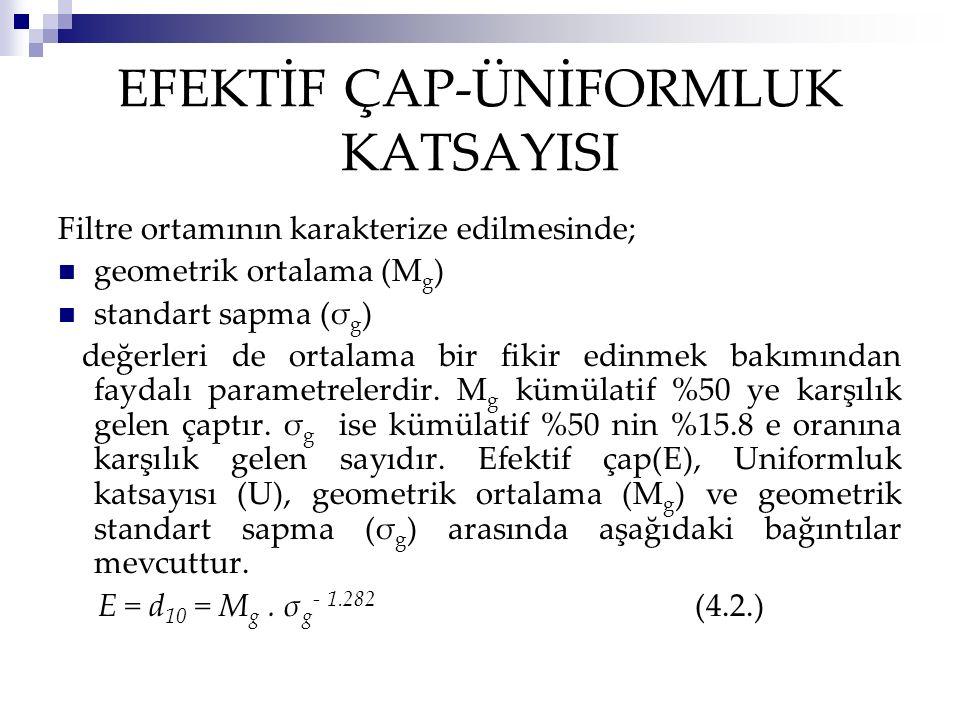 EFEKTİF ÇAP-ÜNİFORMLUK KATSAYISI Filtre ortamının karakterize edilmesinde; geometrik ortalama (M g ) standart sapma (σ g ) değerleri de ortalama bir fikir edinmek bakımından faydalı parametrelerdir.