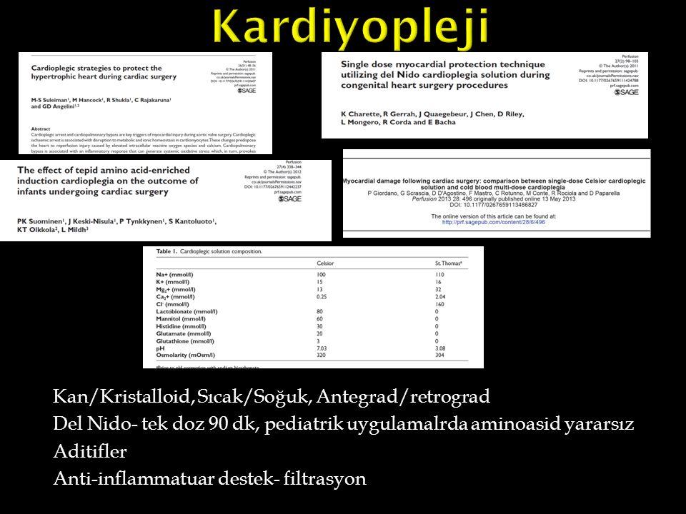 Kan/Kristalloid, Sıcak/Soğuk, Antegrad/retrograd Del Nido- tek doz 90 dk, pediatrik uygulamalrda aminoasid yararsız Aditifler Anti-inflammatuar destek
